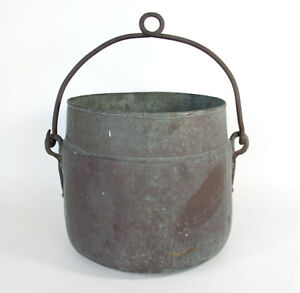 Large Primitive Antique Marked Copper Cooking Apple Butter Cauldron Pot Kettle