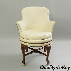 Antique Elgin Simonds English Queen Anne Leather Swivel Desk Vanity Arm Chair