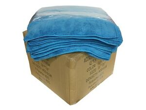 120 Case Microfiber 16 x16 Cleaning detailing Cloths Extra Plush 400gsm Blue