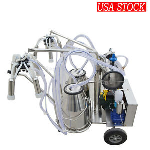 Double Tank Milker Electric Vacuum Pump Milking Machine For Cow Cattle Dairy us