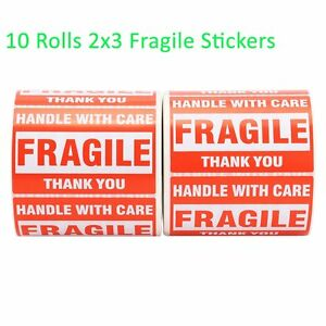 10 Rolls 500 roll Handle With Care Thank You Fragile Shipping Label Sticker 2x3