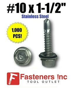 1000 10 X 1 1 2 Stainless Steel Roofing Siding Screws Hex Washer Head Tek Epdm