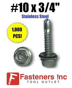1000 10 X 3 4 Stainless Steel Roofing Siding Screws Hex Washer Head Tek Epdm