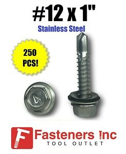 Qty 250 12 X 1 Stainless Steel Roofing Siding Screws Hex Washer Head Tek Epdm