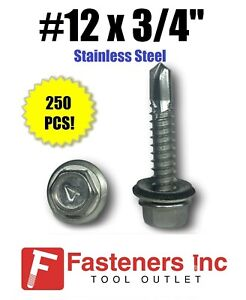 250 12 X 3 4 Stainless Steel Roofing Siding Screws Hex Washer Head Tek Epdm