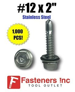1000 12 X 2 Stainless Steel Roofing Siding Screws Hex Washer Head Tek Epdm