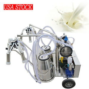 Double Tank Milker Electric Vacuum Pump Milking Machine For Cow Cattle 110v 220v