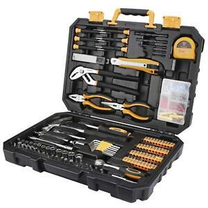 Pro 196 Piece Tool Set General Household Hand Tool Kit With Rip Claw Hammer