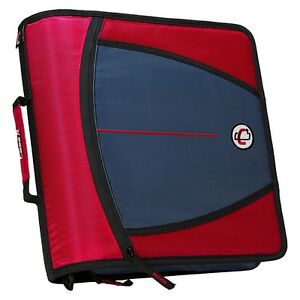 New Case it Xl 3 Ring 3 Inch Zipper Binder With 5 tab File Folder Red