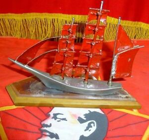 Vintage Russian Ussr Model Sailing Vessel Ship