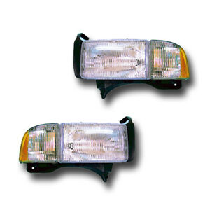 Fits 94 02 Dodge Ram Left Right Headlight Lamp Combination Assembly 1 Pair