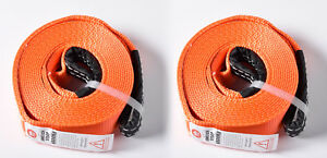 Two 2x 2 14500lbs Tow Strap 30 Ft Winch Sling Off road Vehicle Recovery