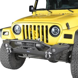For 97 06 Jeep Wrangler Tj Rock Crawler Front Bumper W Led Lights