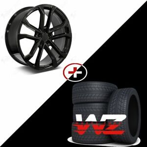 22 Zl 5 Style Gloss Black Wheels W Tires Fits Chevy Camaro Zl1 Rs