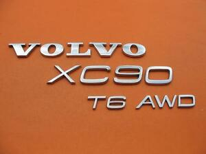 03 14 Volvo Xc90 Awd T6 Rear Lid Chrome Emblem Logo Badge Sign Symbol Oem Set