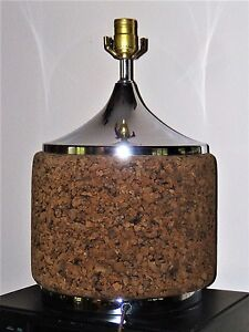 Mid Century Danish Modern Cork Chrome Table Lamp