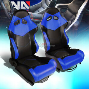 Black blue Reclinable Pvc Leather Arrow Design Racing Seats W universal Sliders
