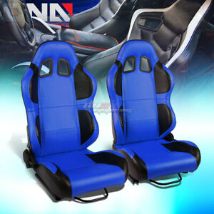 Blue black Wings Reclinable Pvc Leather Type r Racing Seats W universal Sliders