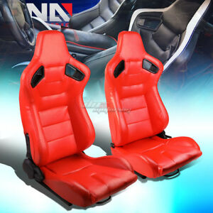 Red Body Reclinable Pvc Horizontal Stitch Racing Seats W Universal Sliders