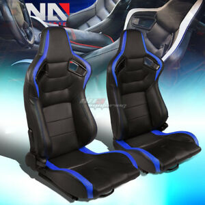 Black blue Reclinable Pvc Horizontal Stitch Racing Seats W universal Sliders