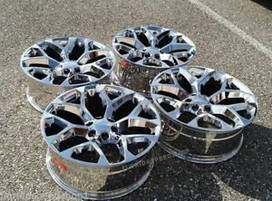 Triple Chrome Snowflake Gmc Sierra Chevy Silverado Truck Wheels Set 22x9