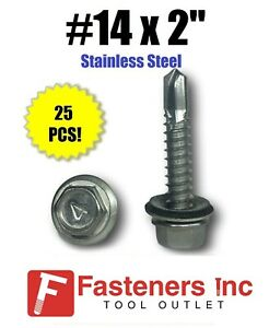 qty 25 14 X 2 Stainless Steel Roofing Siding Screws Hex Washer Head Tek Epdm