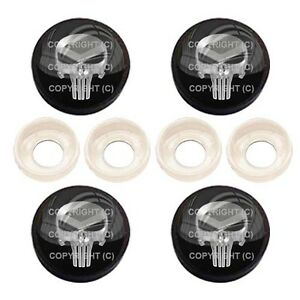 4 Black License Plate Frame Tag Screw Snap Cap Covers Punisher Skull Bc047