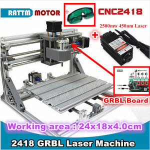 3 Axis 2418 Grbl Control Mini Cnc Laser Machine Milling Wood Router 2500mw Laser