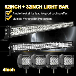 52inch Led Work Light Bar 20in 4 Cree Pods Offroad Suv 4wd Atv Ford Jeep 50