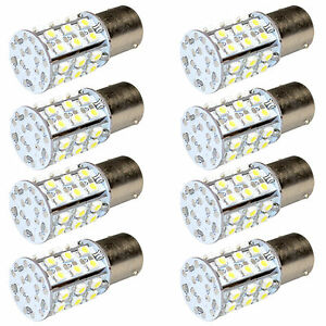 8 pack Ba15s Bayonet Base Led Bulb Warm White For 93 1156 Rv Lights Replacement