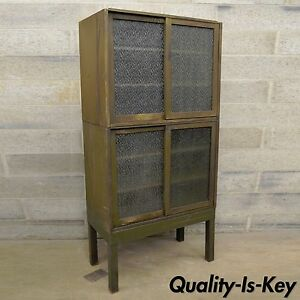 Remington Rand Industrial Green Steel Metal Stacking Barrister Storage Cabinets