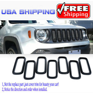 Fit For 2015 2019 Jeep Renegade 7pcs Black Front Grille Inserts Frame Trim Cover