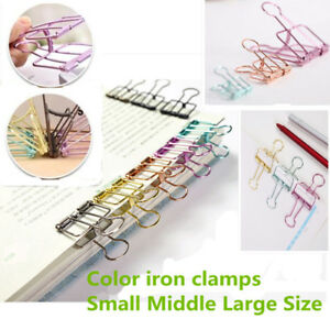 Bulldog Clip Color Assorted Sizes Foldback Folding Spring Paper Office Holde Lot