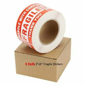 5 Rolls 500 roll Large 3x5 Fragile Handle With Care Thank You Labels Stickers