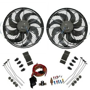 Dual 16 Electric Radiator Wide Curved Blade Fan 3000cfm With Thermostat