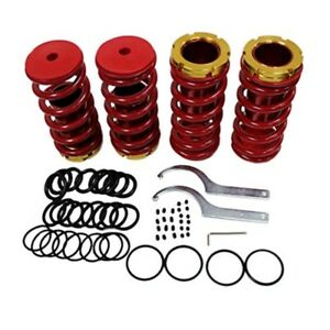 Front Rear Suspension Coilover Lowering Spring Sleeve Kit Honda 88 00 Civic Red