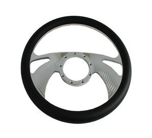 14 Chrome Aluminum Steering Wheel 9 Hole Half Wrap Black Leather