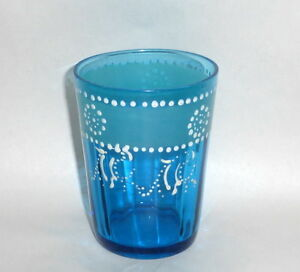 Antique 4 Blue Water Glass Tumbler With White Enamel Dots Hand Painting