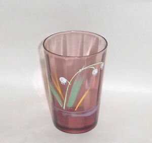 Antique 4 Amethyst Water Glass Tumbler With Enamel Lily Of Valley Hand Painting