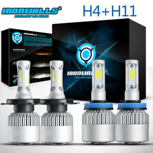 4x Cree Car Led Headlight H4 9003 h11 H9 H8 Hi lo Beam Fog White Light Bulbs