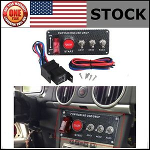 Led Toggle Ignition Switch 12v Panel Engine Start Push Button Set For Racing Car