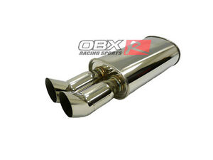 Obx Universal Muffler Dual Dtm Tips 3 0 Inlet Fits Civic Accord Prelude Civic