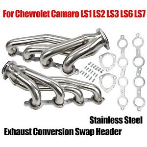 Stainless Steel Exhaust Conversion Swap Header Manifold For Ls1 Ls2 Ls3 Ls6 Ls7