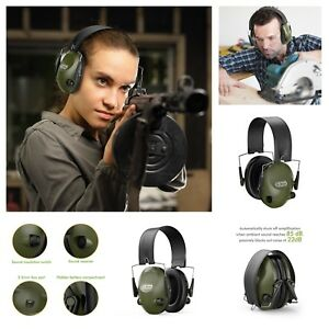 Green Electronic Ear Muffs Safety Shooting Hearing Protection Noise Blocking New