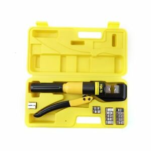 10 Ton Hydraulic Wire Terminal Crimper Battery Cable Lug Crimping Tool W dies As