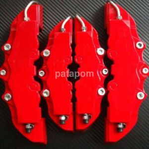 Red 4pcs 3d Style Front And Rear Universal Plate Car Brake Caliper Cover Sets