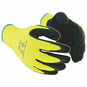 12 X Hi Vis Cold Store Freezer Thermal Grip Safety Work Gloves