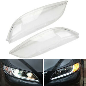 1 Pair Headlight Headlamp Plastic Clear Lens Cover For Mazda 6 2003 2008