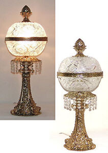 2 Vtg Art Nouveau Cut Crystal Lamp 24kt Gold Over Brass Vintage Lamp Lighting