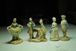 Vintage Old Colonial Figurines Man Woman Violin Antique Piano Dancing Lady Chalk